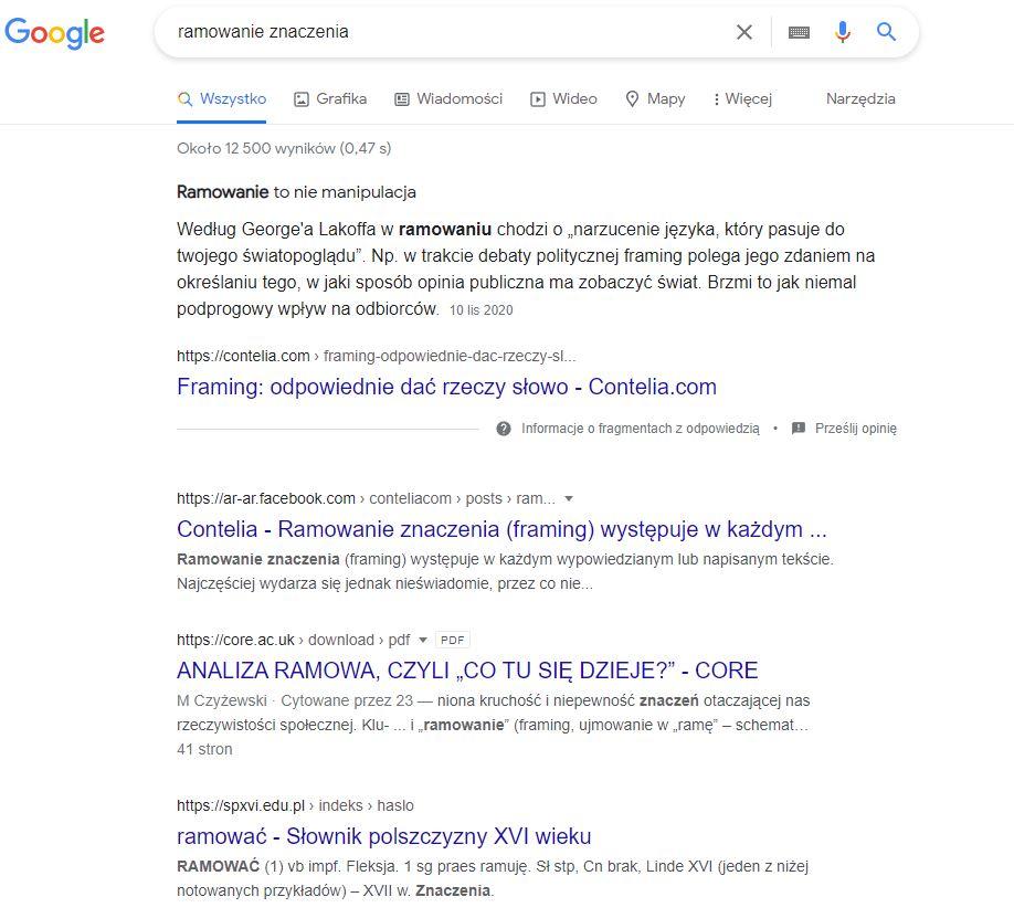 Ramowanie znaczenia wyniki Google